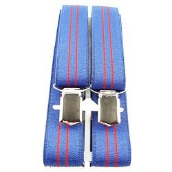 Bretelles fines bleu et lignes verticales rouge