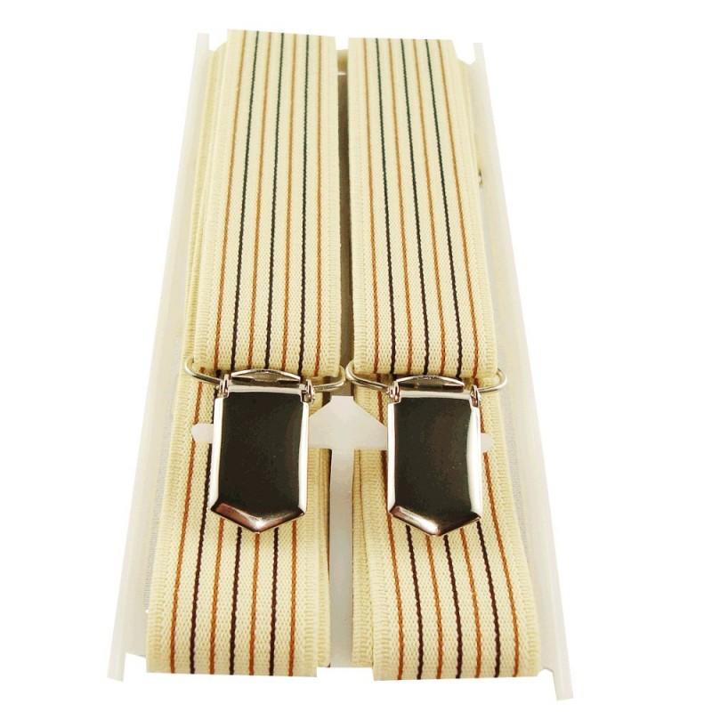 Bretelles fines beige lignes verticales colorées