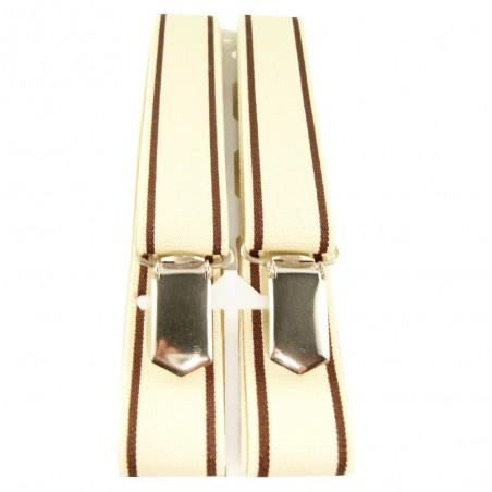 Bretelles fines beige à lignes externes chocolat