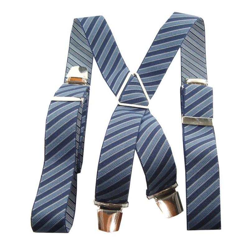 Bretelles rayures bleu et bleu marine