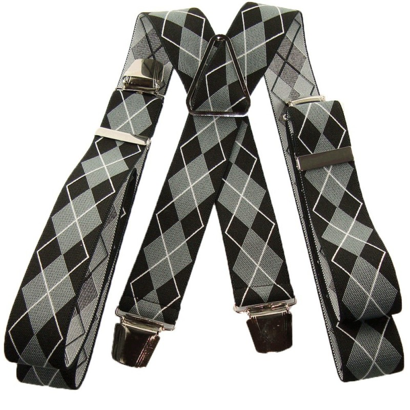 Bretelles losanges noir et gris