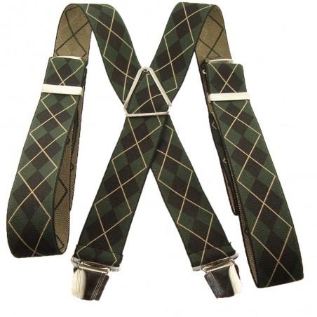 Bretelles losanges noir et vert