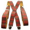 Bretelles tartan écossais rouge et jaune