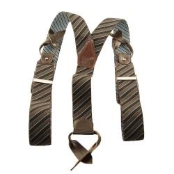 Bretelle rayures noires et marron à boutons