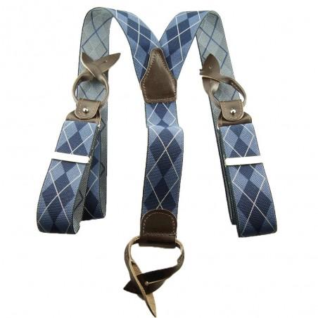 Bretelle boutons pour homme losanges bleu