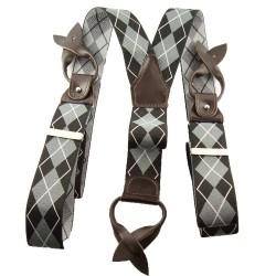 Bretelle boutons pour homme losanges gris et noir